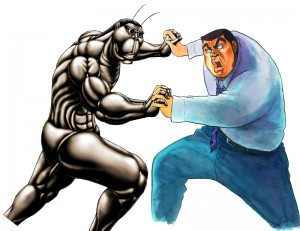 「テラフォーマーズ」のテラフォーマー(左)と「俺物語!!」の剛田猛男のコラボポスター用イラスト。